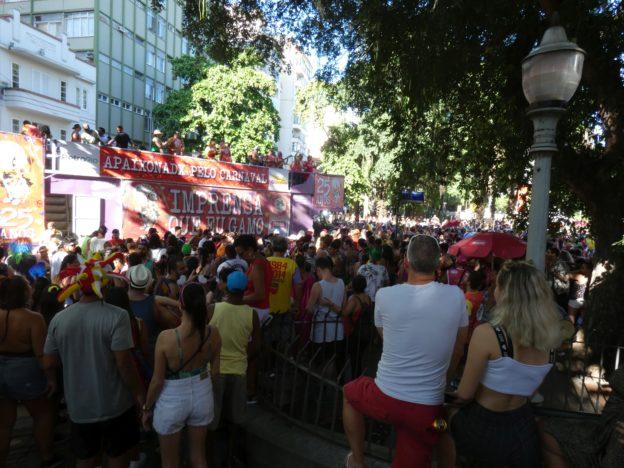 Neighborhood pre-Carnival parade in Laranjeiras, Rio de Janeiro